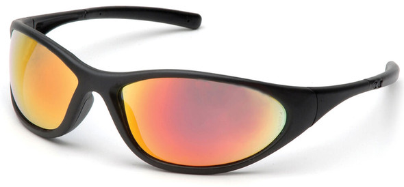 Pyramex Zone 2 Safety Glasses with Black Frame and Ice Orange Mirror Lens