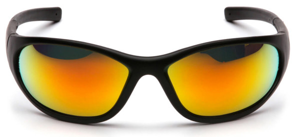 Pyramex Zone 2 Safety Glasses with Black Frame and Ice Orange Mirror Lens - Front