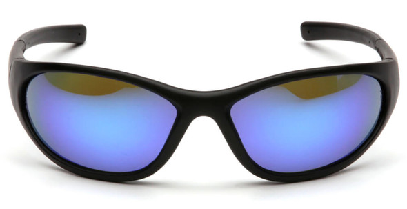 Pyramex Zone 2 Safety Glasses with Black Frame and Ice Blue Mirror Lens - Front