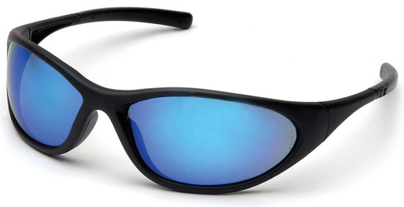 Pyramex Zone 2 Safety Glasses with Black Frame and Ice Blue Mirror Lens