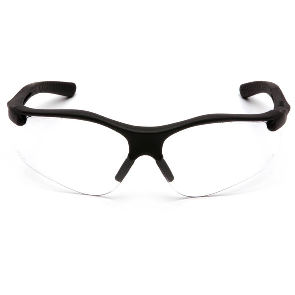 Pyramex Fortress Safety Glasses with Black Frame and Clear Lens SB3710D Front View