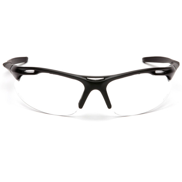 Pyramex Avante Safety Glasses with Black Frame and Clear Lens SB4510D Front View