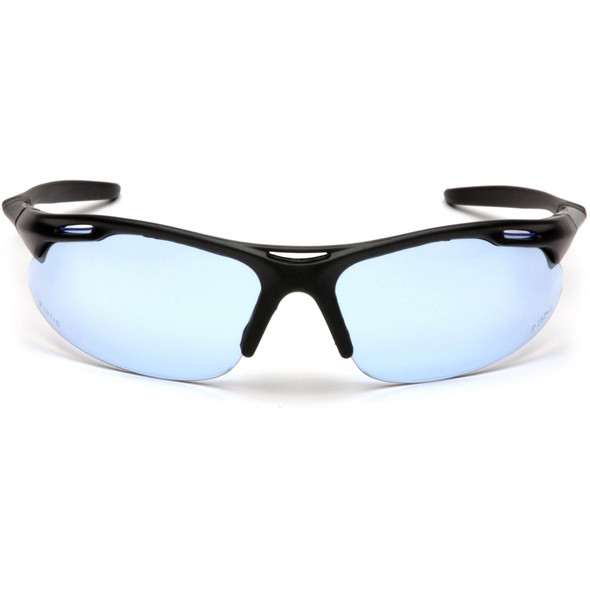 Pyramex Avante Safety Glasses with Black Frame and Infinity Blue Lens SB4560D Front View
