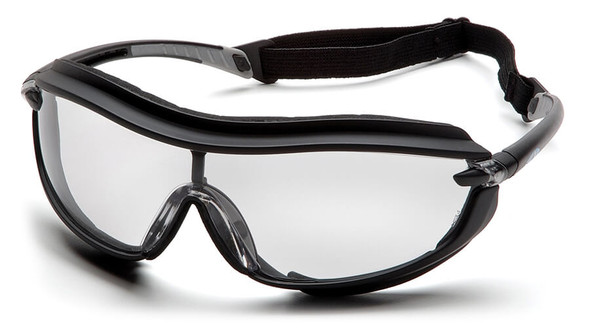 Pyramex XS3 Plus Safety Glasses with Black Padded Frame and Clear Anti-Fog Lens