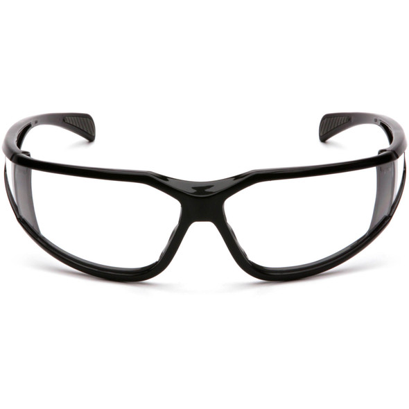 Pyramex Exeter Safety Glasses with Black Frame and Clear Anti-Fog Lens SB5110DT Front