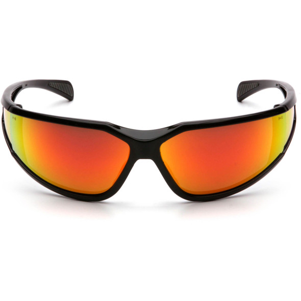 Pyramex Exeter Safety Glasses with Black Frame and Sky Red Mirror Anti-Fog Lens SB5155DT Front