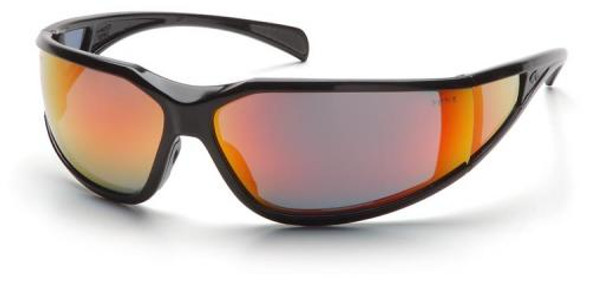 Pyramex Exeter Safety Glasses with Black Frame and Sky Red Mirror Anti-Fog Lens SB5155DT