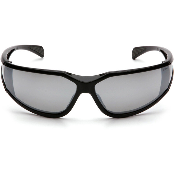 Pyramex Exeter Safety Glasses with Black Frame and Silver Mirror Anti-Fog Lens SB5170DT Front