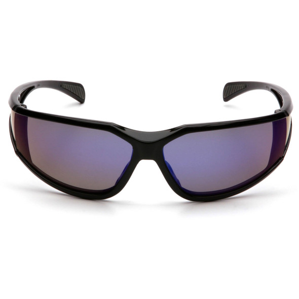 Pyramex Exeter Safety Glasses with Black Frame and Blue Mirror Anti-Fog Lens SB5175DT Front