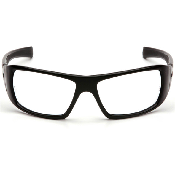Pyramex Goliath Safety Glasses with Black Frame and Clear Lens SB5610D Front View