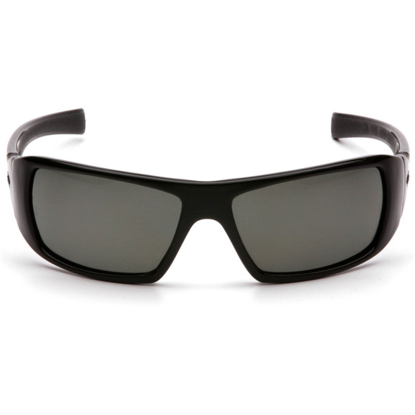 Pyramex Goliath Safety Glasses with Black Frame and Gray Polarized Lens SB5621D Front View