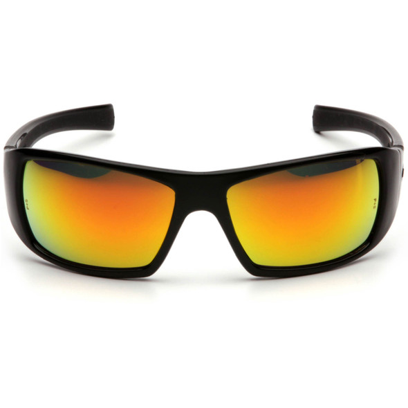 Pyramex Goliath Safety Glasses with Black Frame and Ice Orange Mirror Lens SB5645D Front View