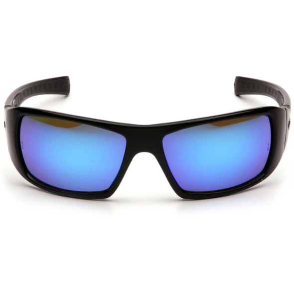 Pyramex Goliath Safety Glasses with Black Frame and Ice Blue Mirror Lens SB5665D Front View