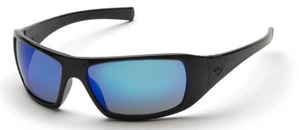 Pyramex Goliath Safety Glasses with Black Frame and Ice Blue Mirror Lens