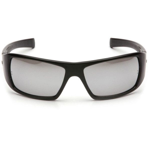 Pyramex Goliath Safety Glasses with Black Frame and Silver Mirror Lens SB5670D Front View