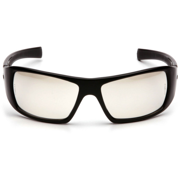 Pyramex Goliath Safety Glasses with Black Frame and Indoor/Outdoor Lens SB5680D Front View
