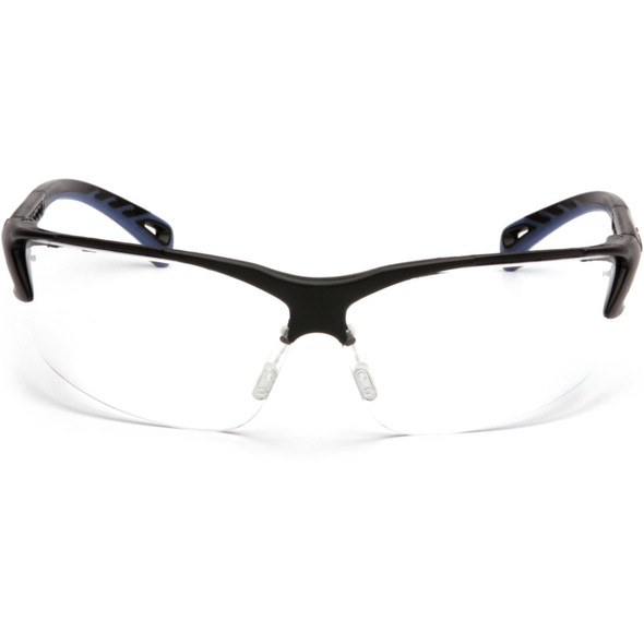 Pyramex Venture 3 Safety Glasses with Black Frame and Clear Anti-Fog Lens SB5710DT Front View