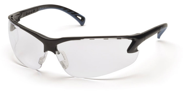 Pyramex Venture 3 Safety Glasses with Black Frame and Clear Anti-Fog Lens