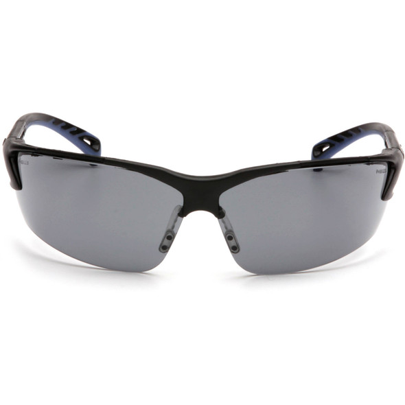 Pyramex Venture 3 Safety Glasses with Black Frame and Gray Anti-Fog Lens SB5720DT Front View