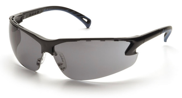 Pyramex Venture 3 Safety Glasses with Black Frame and Gray Anti-Fog Lens SB5720DT