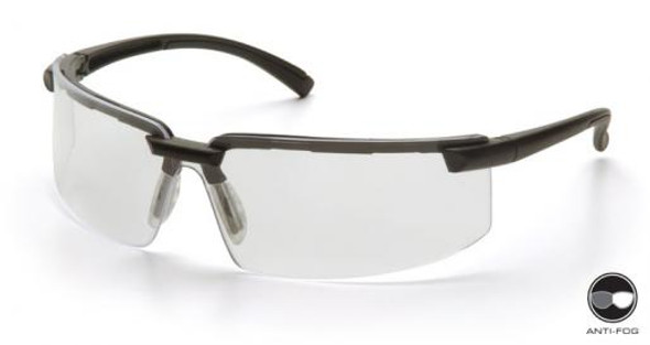 Pyramex Surveyor Safety Glasses with Black Frame and Clear Anti-Fog Lens