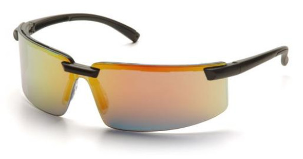 Pyramex Surveyor Safety Glasses with Black Frame and Ice Orange Mirror Lens