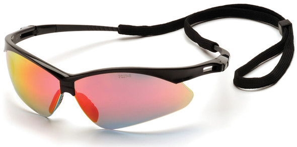 Pyramex PMXtreme Safety Glasses with Black Frame and Ice Orange Mirror Lens