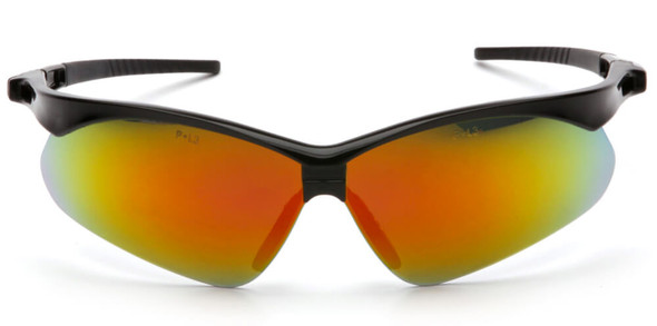 Pyramex PMXtreme Safety Glasses with Black Frame and Ice Orange Mirror Lens - Front