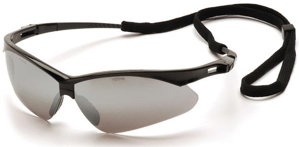 Pyramex PMXtreme Safety Glasses with Black Frame and Silver Mirror Lens