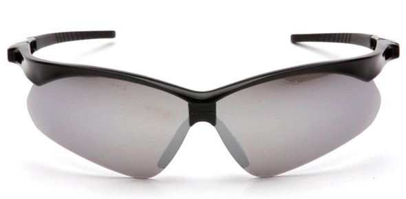 Pyramex PMXtreme Safety Glasses with Black Frame and Silver Mirror Lens - Front