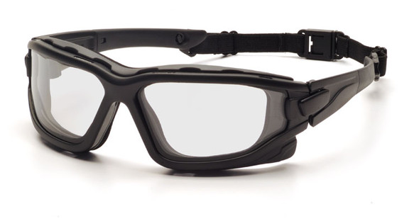 Pyramex I-Force Safety Goggle/Glasses with Black Frame and Clear Anti-Fog Lenses SB7010SDT with Temple Arms