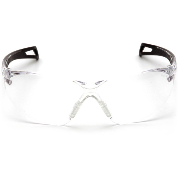 Pyramex PMXSlim SB7110ST Safety Glasses with Black Temples and Clear Anti-Fog Lens Front View