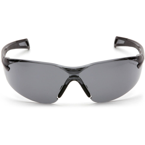 Pyramex PMXSlim Safety Glasses with Black Temples and Gray Anti-Fog Lens SB7120ST Front View