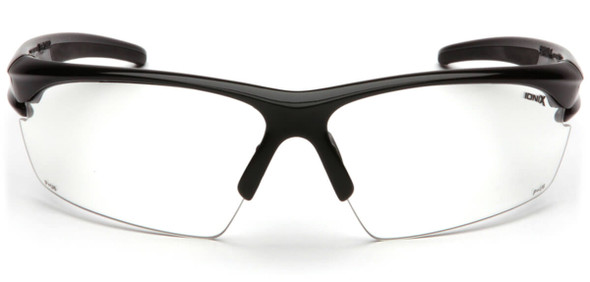 Pyramex Ionix Safety Glasses with Black Frame and Clear Anti-Fog Lenses SB8110DT - Front View