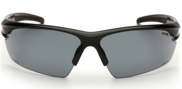Pyramex Ionix Safety Glasses with Black Frame and Smoke Anti-Fog Lenses SB8120DT - Front View