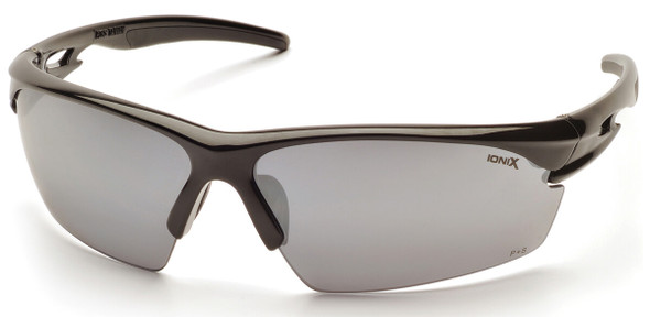 Pyramex Ionix Safety Glasses with Black Frame and Silver Mirror Lenses SB8170D
