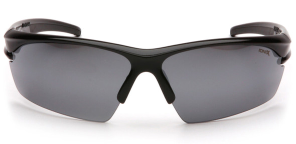 Pyramex Ionix Safety Glasses with Black Frame and Silver Mirror Lenses SB8170D - Front View