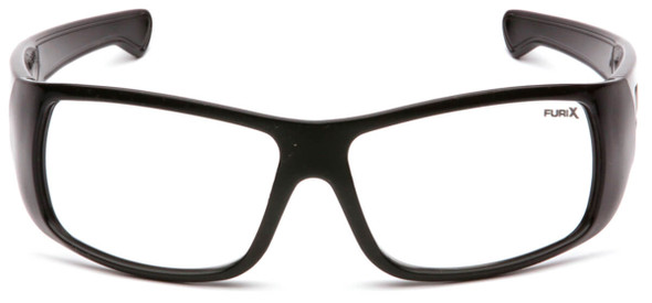 Pyramex Furix Safety Glasses with Black Frame and Clear Anti-Fog Lens SB8510DT - Front View