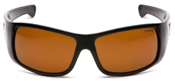 Pyramex Furix Safety Glasses with Black Frame and Coffee Anti-Fog Lens SB8515DT - Front View