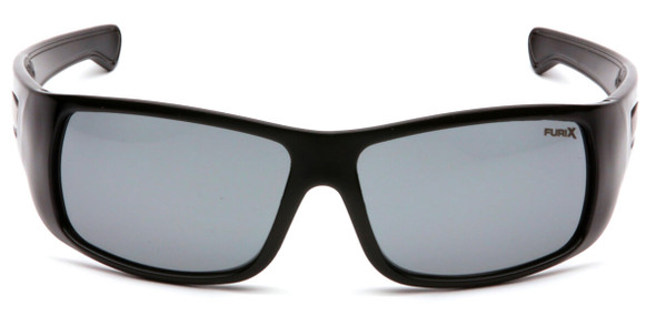 Pyramex Furix Safety Glasses with Black Frame and Gray Anti-Fog Lens SB8520DT - Front View