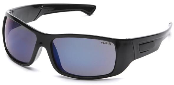 Pyramex Furix Safety Glasses with Black Frame and Blue Mirror Anti-Fog Lens SB8575DT