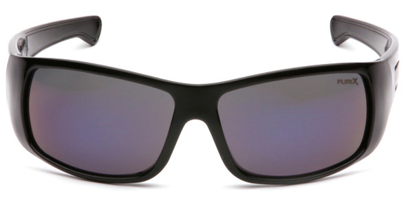 Pyramex Furix Safety Glasses with Black Frame and Blue Mirror Anti-Fog Lens SB8575DT - Front View
