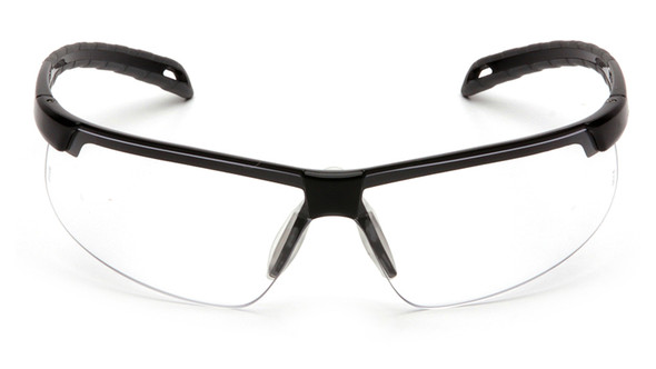 Pyramex Ever-Lite Safety Glasses with Black Frame and Clear Anti-Fog Lenses Front View