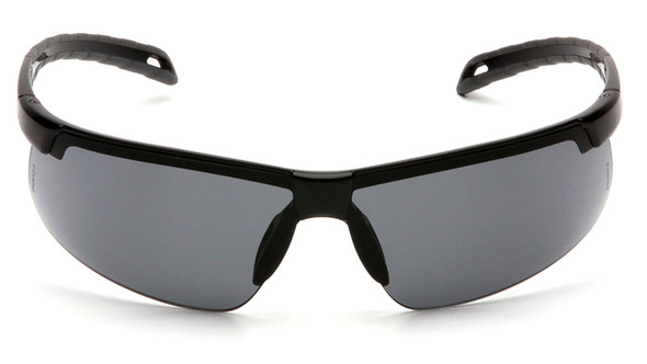 Pyramex Ever-Lite Safety Glasses with Black Frame and Gray Anti-Fog Lenses - Front View