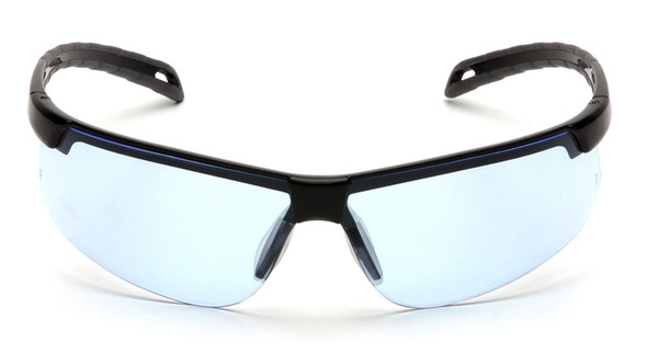 Pyramex Ever-Lite Safety Glasses with Black Frame and Infinity Blue Lenses - Front View