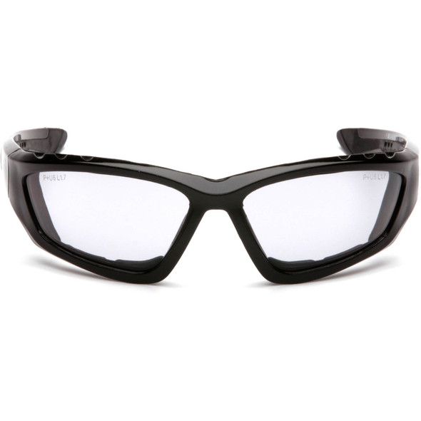 Pyramex Accurist Safety Glasses with Black Frame and Light Gray Anti-Fog Lens SB8725DTP Front View