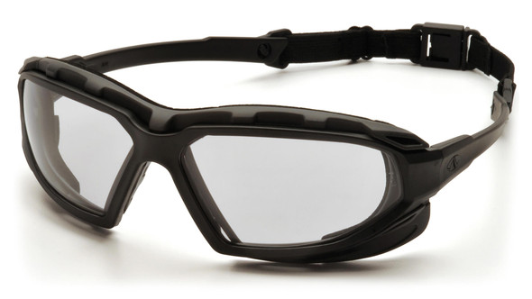 yramex Highlander Plus Safety Glasses Black Foam-Lined Frame Clear Anti-Fog Lens SBG5010DT