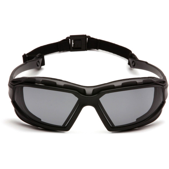Pyramex Highlander Plus Safety Glasses Black Foam-Lined Frame Gray Anti-Fog Lens SBG5020DT Front