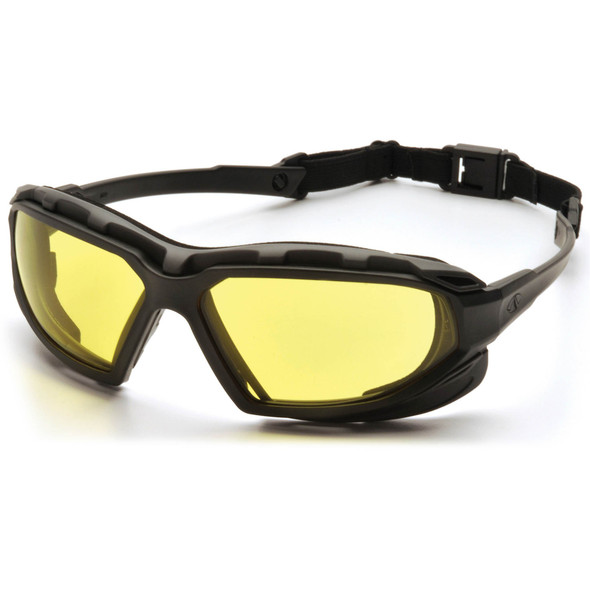 PPyramex Highlander Plus Safety Glasses Black Foam-Lined Frame Amber Anti-Fog Lens SBG5030DT