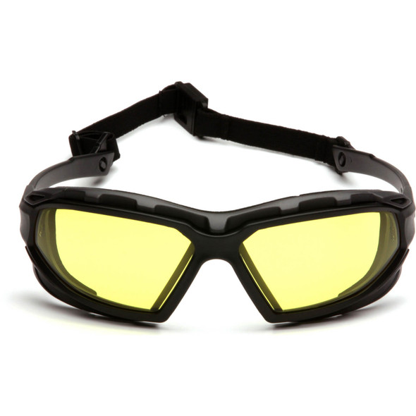 Pyramex Highlander Plus Safety Glasses Black Foam-Lined Frame Amber Anti-Fog Lens SBG5030DT Front